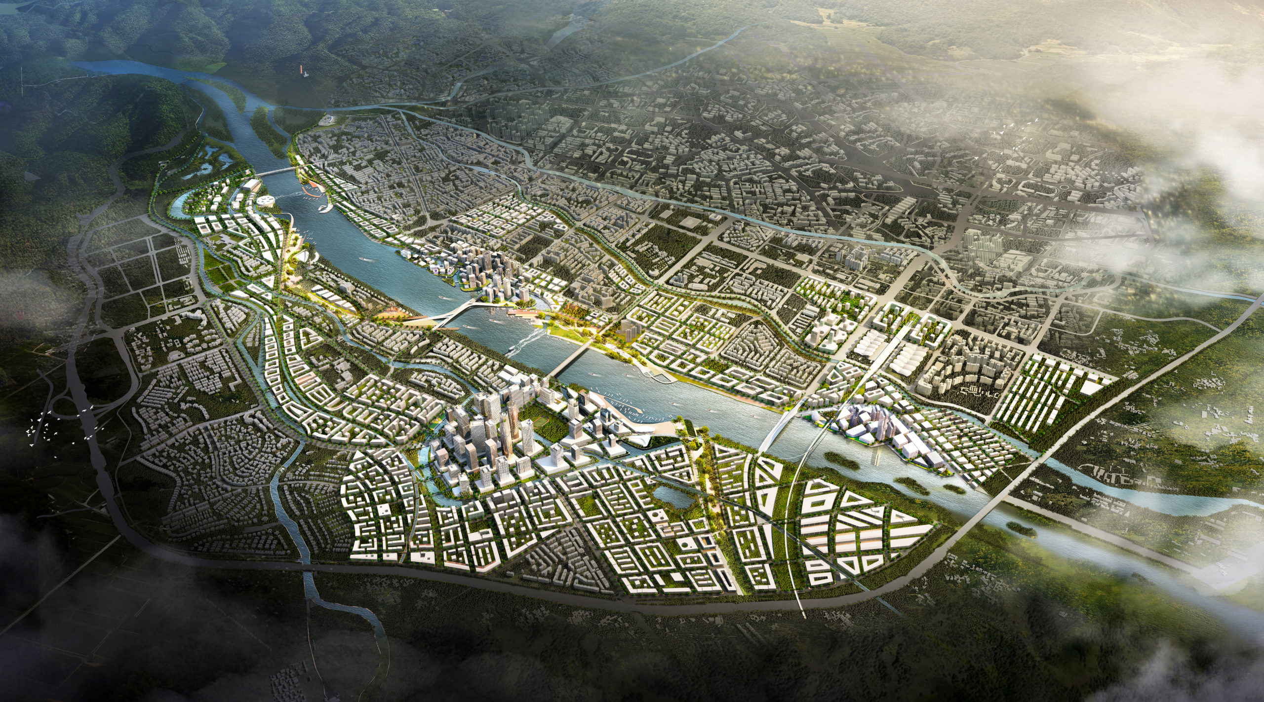 Shanshui city masterplan competition arial visualisation