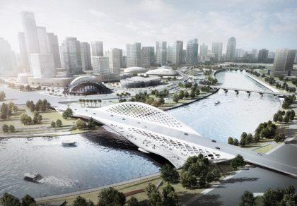 arial perspective of Chengdu Tianfu bridge design