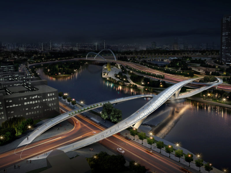 Night arial render 五岔子大橋 - Wuchazi Bridge (INFINITE LOOP)
