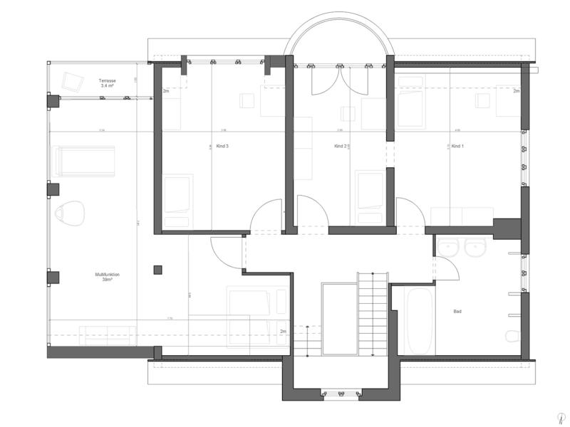 Berlin Architecture villa extension floor plan