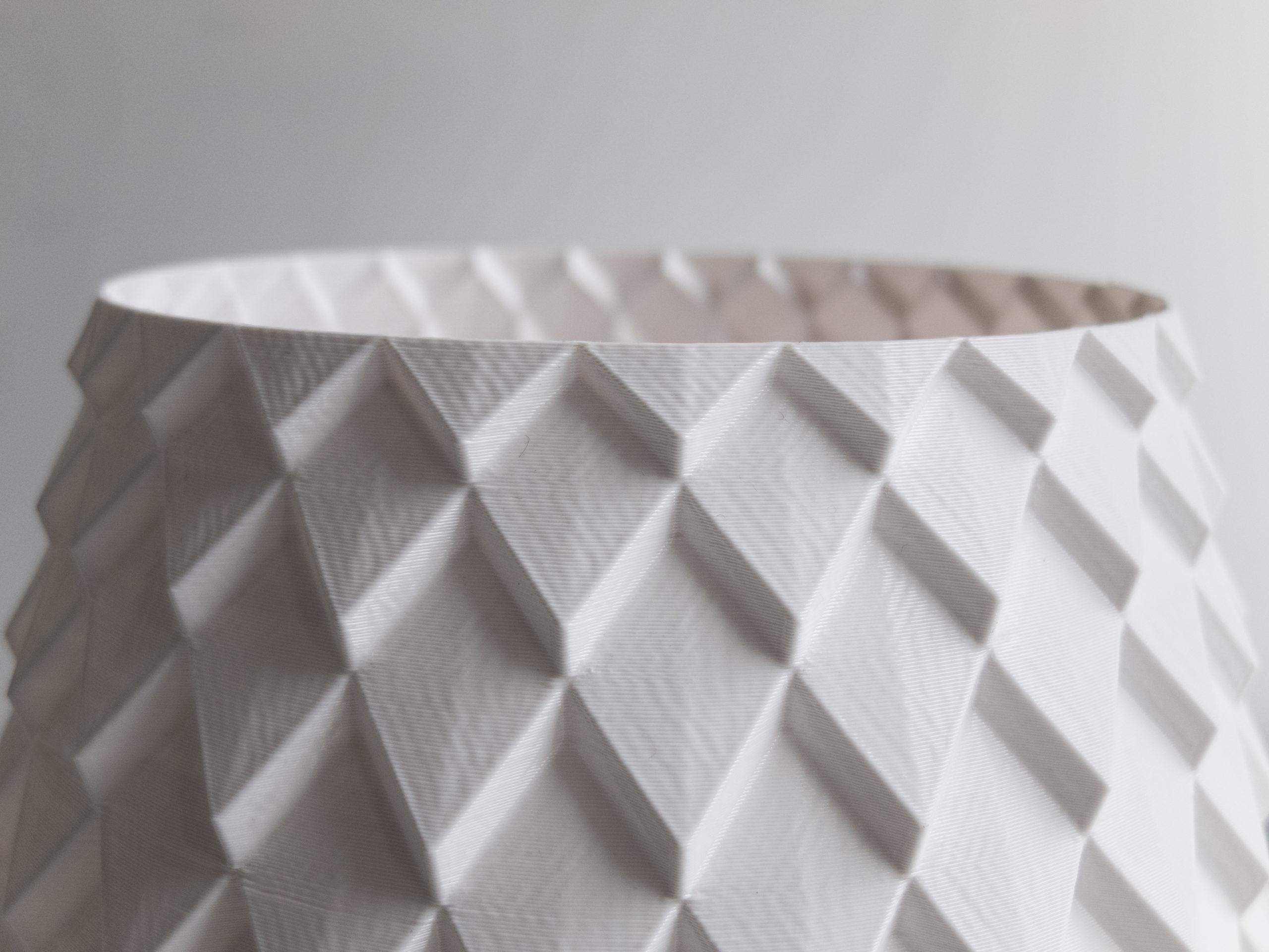 Detail photo of 3d printed parametric vase design